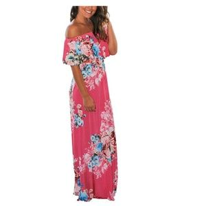 Dream Theory Dresses - Women Floral Print Off Shoulder Maxi Dress